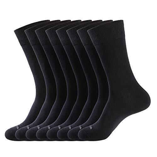 WANDER Men's Solid Dress Socks Cotton Black Men 7-12 Pack Trouser Thin Classic Socks (Shoe Size:7-12, 8 Pairs Black)