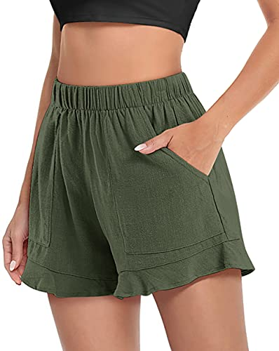 FASKUNOIE Women's Shorts Elastic Flowy Summer Dressy Cute Casual Shorts with Pockets Army Green