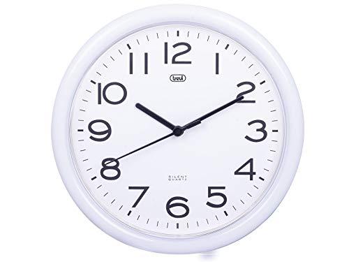 Trevi OM 3301 Orologio da Muro al Quarzo con Movimento Silenzioso Sweep, Diametro 24 cm, Bianco, plastica, rotonda