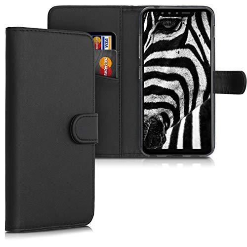 Preisvergleich Produktbild kwmobile Hülle kompatibel mit LG G8s ThinQ - Kunstleder Wallet Case mit Kartenfächern Stand in Schwarz
