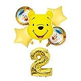 Globo de número Winnie The Pooh Set de Globo Amarillo Fiesta de cumpleaños Decoración de la Fiesta de Dibujos Animados Oso Foil Balloons Luminum Globos Suministros Juguetes (Color : Set2 2)