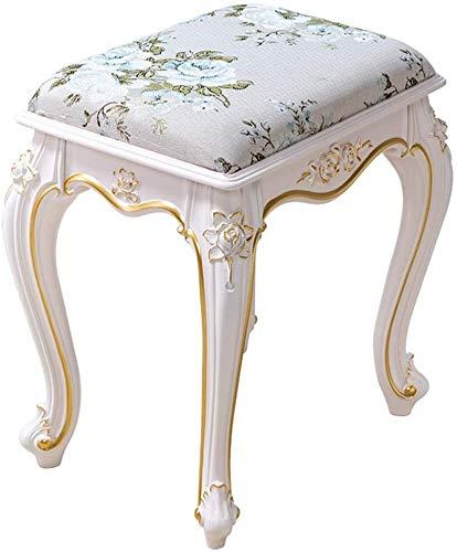 WEIJINGRIHUA - Sgabello per divano, sgabello da toeletta imbottita, sedia per il trucco, sedia per pianoforte barocco, colore bianco, dimensioni: 26,5 x 37 x 43 cm