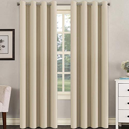 Untra Sleep Well Microfiber Blackout Thermal Insulated Curtains for Bedroom / Living Room Decorative Grommet Window Panels Drapes (Set of 2, Beige, 52 x 96 Inch)