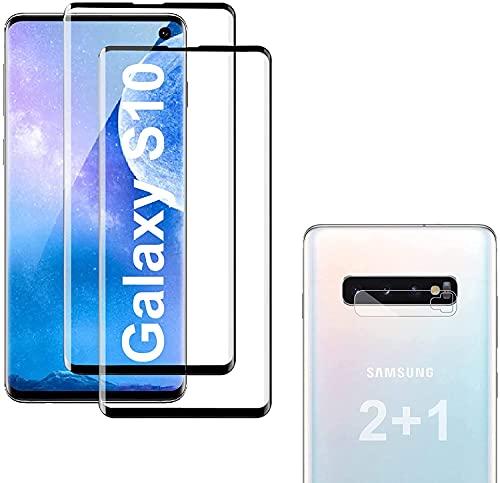 [2+1 Pack] Panzerglas Schutzfolie für Samsung Galaxy S10, Linse Schutzfolie, Fingerabdrucksensor Kompatible,3D Vollständige Abdeckung, Panzerglasfolie für Samsung Galaxy S10