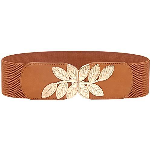 ALAIX Women's Stretchy Belt for Dresses Jumpsuit Coat Belt Vintage Elastic Wide Leaf Waist Belt Waistband Brown