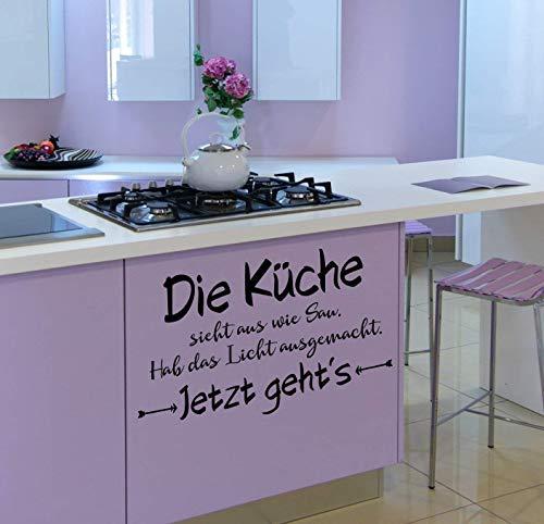 *NEU* Wandaufkleber/Wandtattoo/Wandsticker - Spruch ***Die Küche sieht aus wie Sau. Hab das Licht ausgemacht. Jetzt geht´s*** (Größen.- und Farbauswahl)