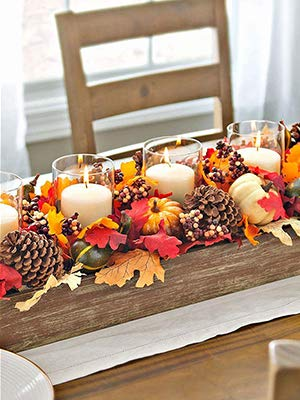 Judy1980 50Pcs Harvest Decorations, Artificial Mini Fake Pumpkins Blend maple Leaves Gourd Pine Cones Acorns Set for Thanksgiving Christmas Autumn Fall Halloween Party Home Table Supplies