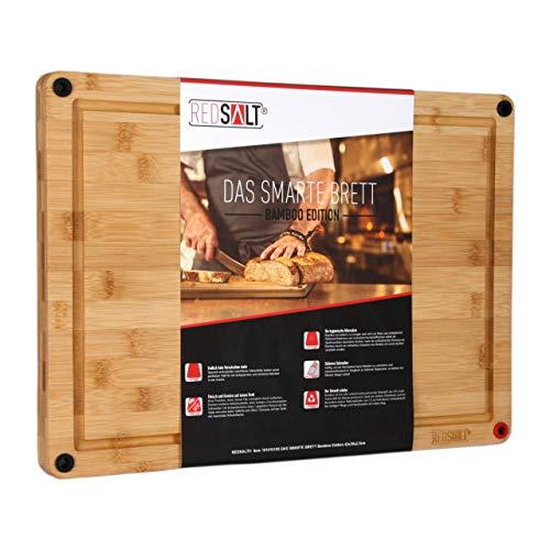 REDSALT® innovatives Bambus Holz Schneidebrett Groß | 42x30x2,5cm Holzbrett beidseitig verwendbar rutschfest tiefe Saftrille | Premium Schneidbrett für Küche Grill | das nachhaltige Geschenk