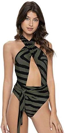 QVP PQ Women's Alex Tiger Lily 1-Piece Swimsuit - Halter Strap, Waist Side Tie, Open Back