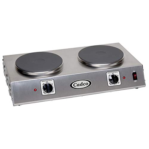 """Cadco CDR-2C 21.25"""" W Double Burner Electric Portable Hot Plate, 120-Volt Infinite Controls, Stainless Steel, 120v"""