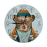 掛け時計 壁掛け時計 メガネザル先生 おしゃれ 置き時計 連続秒針 静音 インテリア フレームレス 二重使用 部屋の装飾 ホーム キッチン プレゼントオススメ