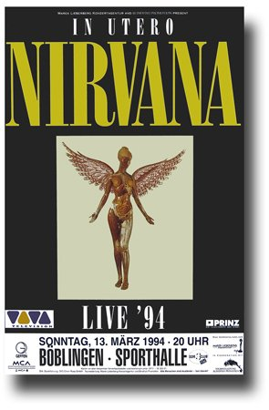 "Nirvana Poster - 11 x 17 Promo for a Concert on the ""In Utero"" Album Tour -- Germany"