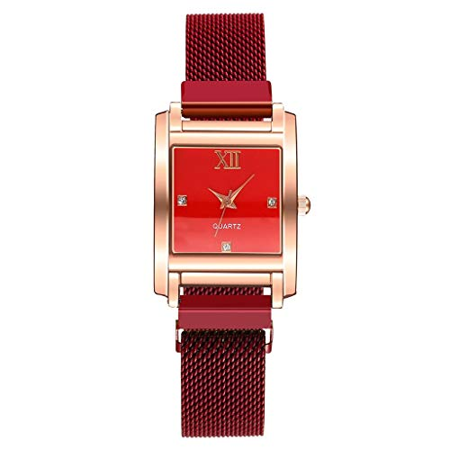 JZDH Relojes para Mujer Relojes para Mujer Hebilla magnética Femenina Malla de alejado Caja de aleación Casual Simple Square Relojes Decorativos Casuales para Niñas Damas (Color : E)