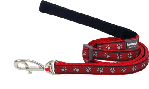 Red Dingo Hundeleine, Muster Pfotenabdrücke, Größe L, 2,5cmx1,8m, Rot