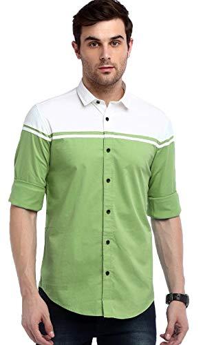 IndoPrimo Men's Regular Fit Cotton Casual Shirt (Green, Large)