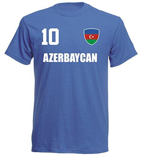 Aserbaidschan WM 2018 T-Shirt Trikot - ROYAL -ALL-10 - S M L XL XXL (M)
