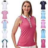 Under Par Golf Pro Quality Breathable Wicking 5 Styles 10 Colours Sleeved & Sleeveless Polo, Mujer, Estilo 1825-Rosa Brillante/Blanco, 42