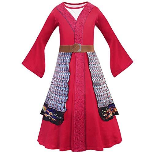 Lito Angels Disfraz de princesa Mulan para niña Vestidos de lujo Traje de heroína china 7-8 años Rojo 277
