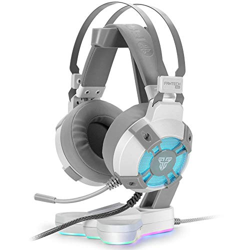 Fantech USB RGB Gaming Headset and Stand Combo for PC, 7.1 Surround Sound 50mm Drive DTS Digital Over Ear Wired Headphones with Mic and Hanger, White -  MP-HG11CO