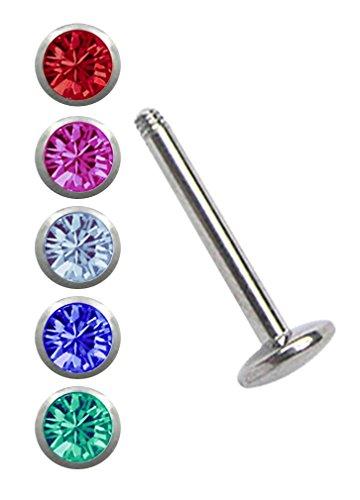 Piercing Set Stahl, 1 x Labret mit 4 mm Platte in 1,2 mm x 6 mm + 5 farbigen Kugeln