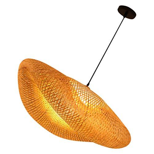 Pixnor - Cestino da soffitto in vimini, con paralume in bambù, lampadario sospeso, decorazione rustica giapponese, lampada per soggiorno, sala da pranzo, bar
