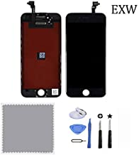 EXW LCD Replacement Touch Screen Digitizer & LCD Display with Frame Assembly Front Glass Fit for iPhone 6 4.7 Inch (Black)