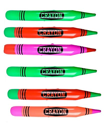 Inflatable Neon Crayons 44 Inch for Party Decorations and Pool (Set of 6)