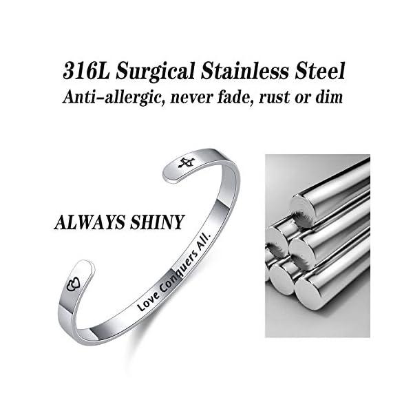 Fodizi Inspirational Bracelets for Women Keep Going Women's Cuff Bracelets Engraved Bracelets Personalized Gift Bracelet Bangle for Girl Mom Boys Men