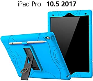 iPad Air 3 Case (10.5 Inch, 2019), iPad Pro 10.5 Case Cover with Pencil Holder and Built-in Stand and Finger Ring Heavy Duty Kids Safe Protection Silicone Cover (Blue)