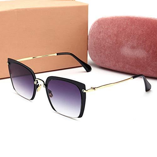 XIAOTANBAIHUO Anteojos Gafas de Sol de conducción cuadradas de Medio Marco para Gafas de Sol de protección UV para Hombres/Hombres (Color : Black Frame/Grey)