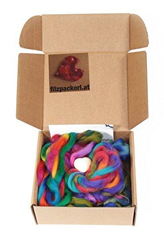 Freundschafts- & Armbänder zum selber filzen: Nassfilz-Set mit Filzanleitung, dünne Merinobandwolle und Schafmilchseife