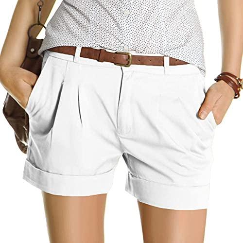 Pantalones Cortos Mujer Casual con 2 Bolsillos Shorts Mujer Verano de Color Sólido Pantalón Corto Mujer Suelta y Cómodo Pantalones Mujer Transpirables Ideal para Compras,Trabajo,Viajes