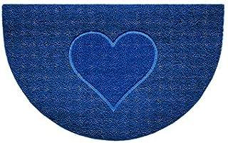 Nicoman Embossed Halfmoon Half Circle Door Mat Dirt-Trapper Jet-Washable Doormat 70x44cm (Blue, Heart Shape) - Use Indoor ...