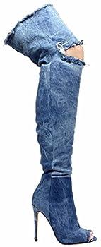 Liliana Barbara-13 Thigh High Over Knee Denim Open Toe Stiletto Heel Boot Lite Blue 7.5