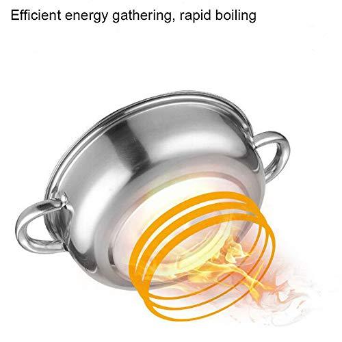 GU YONG TAO Juego de vaporizador apilable de Acero Inoxidable de 2 Niveles con Tapa de Vidrio Templado, Asas Dobles, Olla de Cocina de Metal, fácil de Limpiar, Apto para lavavajillas