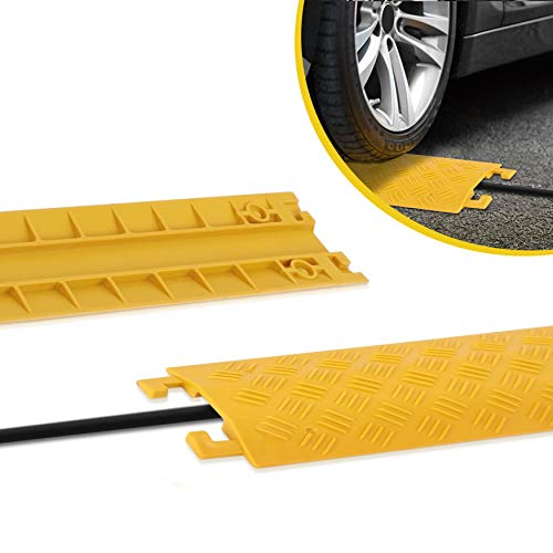 Durable Cable Ramp Protective Cover - 2,000 lbs Max Heavy Duty Drop Over Hose & Cable Track Protector, Safe in High Walking Traffic Areas - Cable Concealer for Outdoor & Indoor Use - Pyle PCBLCO19