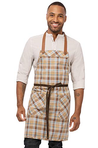 Chef Works Men's Olympia Bib Apron, Brown, 32'L X 36.7'W