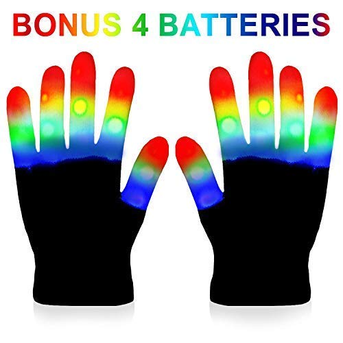 LED Gloves Kids - Light Gloves Rave with 3 Colors 6 Modes for Kids, LED Gloves for Halloween Party Extra Batteries, Gift Box