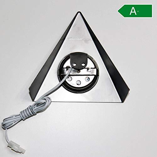 Endstück LED Unterbauleuchten mit Schalter für Küche Schrank 4000K (neutralweiß) – Dreieck-Design aus Edelstahl – Küchenleuchte Küchenlampe Schrankleuchte Dreieckleuchte