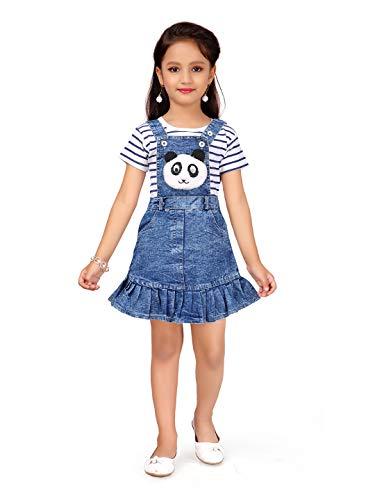 Aarika Girl's Cotton Capri Overalls (DR-3021_Blue_5-6 Years)