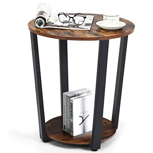 COSTWAY Beistelltisch rund, Kaffeetisch Holz, Nachttisch mit Metallgestell, Industrie Sofatisch mit Ablage, Telefontisch für Wohnzimmer Schlafzimmer Ø50x56cm (Kaffee)