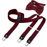 DonDon Tirantes para hombres ancho 2,5 cm en forma de Y, elásticos y ajustables en paquete de 2 con pajaritas adecuada 12 x 6 cm - Rojo oscuro