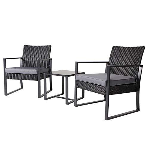 SVITA LOIS Poly Rattan Sitzgruppe Gartenmöbel Metall-Garnitur Bistro-Set Tisch Sessel schwarz