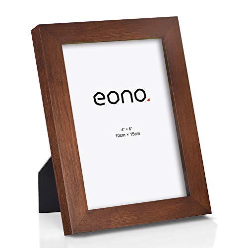 Eono by Amazon - Marco de Fotos de Madera Maciza y Cristal de Alta Definición para Pared o Sobremesa 10x15 cm Marrón