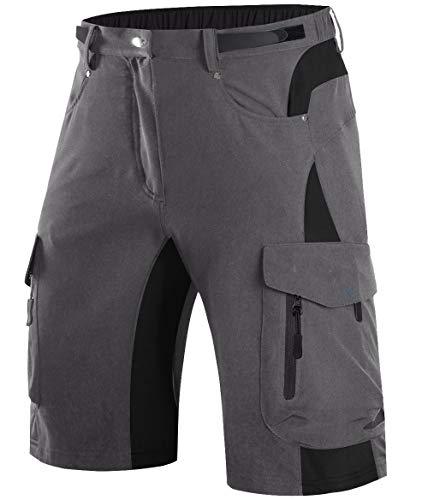 Wespornow Mountain-Bike-MTB-Shorts for Men(Grey, L)