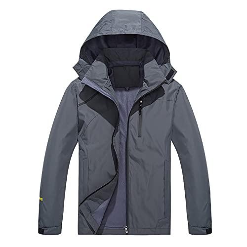 Chaquetas de hombre cortavientos impermeable con capucha delgada chaqueta de los hombres casual cremallera bombardero carga deportes Outwear abrigo táctico ligero ropa para primavera otoño, gris, XL