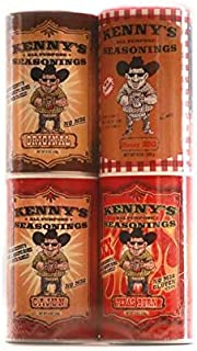 Kenny's All Purpose Seasonings 8 ounce Gift Pack Original/Cajun/Texas Burn/Honey BBQ(pack of 4)