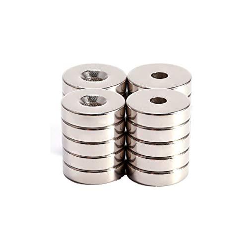 Elsatsang Neodym-Magnete mit Löchern, 10 x 3 mm, 20 Stück