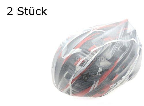 2 Stück Helmüberzug in WEISS für Fahrradhelm - Schutz vor Regen, Wind, Sonne | reflektierendes Logo für Sicherheit | wasserdichter Regenüberzug | Helmschutz Kordelzug größenverstellbar (2 Stück Weiss)