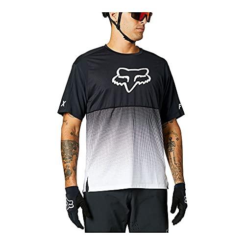 Fox Racing Herren Flexair Short Sleeve Jersey Hemd, schwarz/weiß, Groß